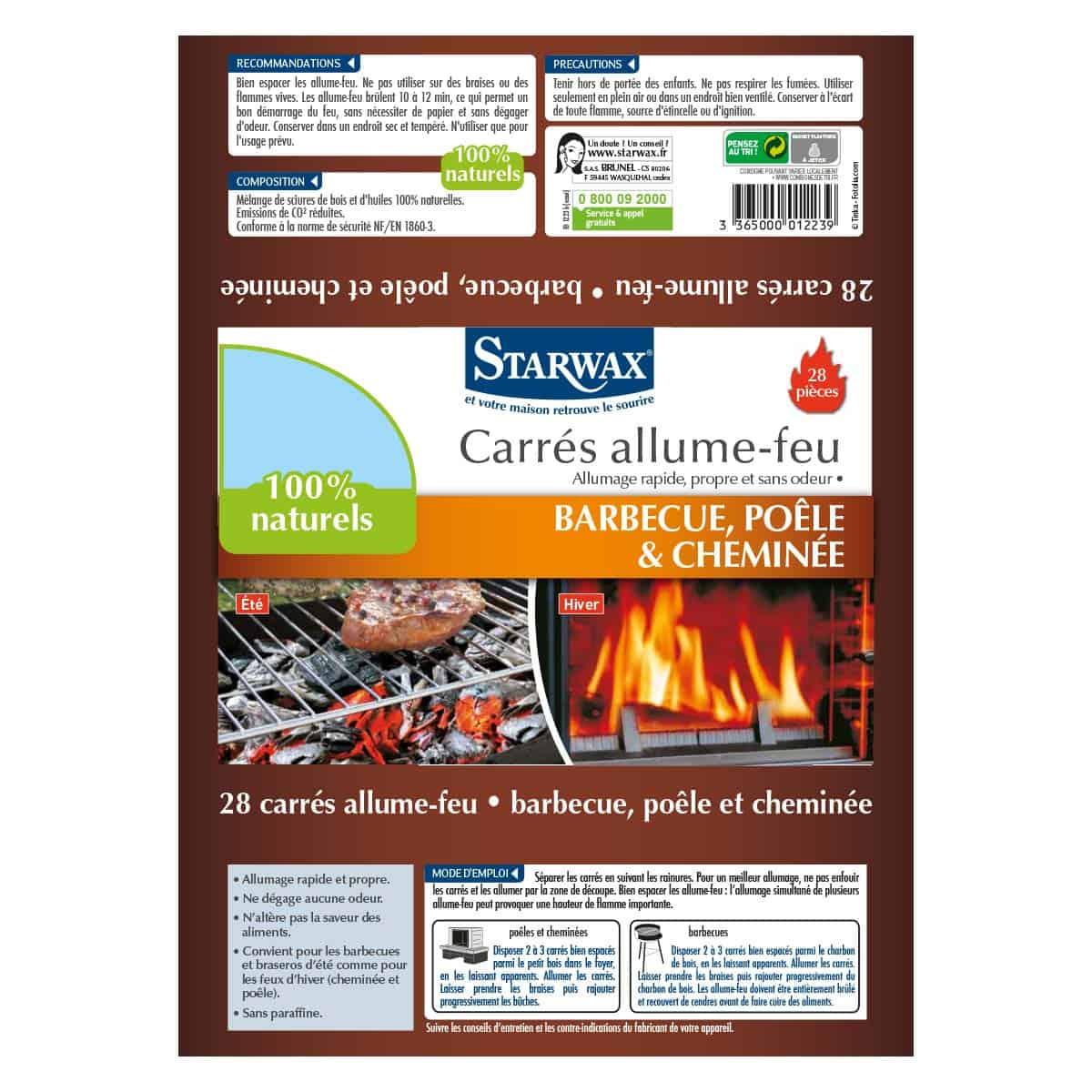 Carrés allume-feu pour barbecue, poêle et cheminée